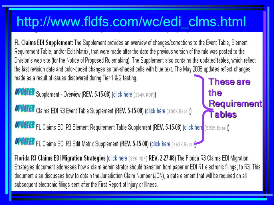 6 These are the Requirement Tables http://www.fldfs.com/wc/edi_clms.html