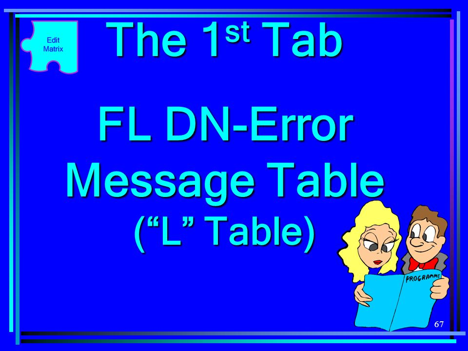 67 The 1 st Tab FL DN-Error Message Table (L Table)
