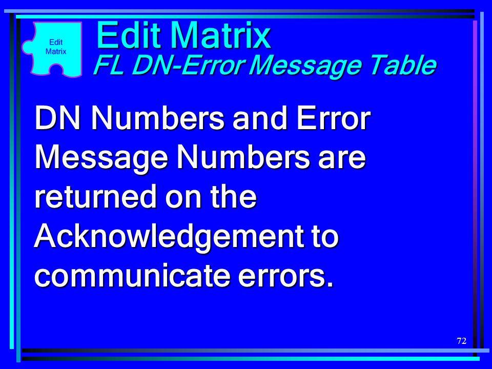 72 Edit Matrix FL DN-Error Message Table DN Numbers and Error Message Numbers are returned on the Acknowledgement to communicate errors.