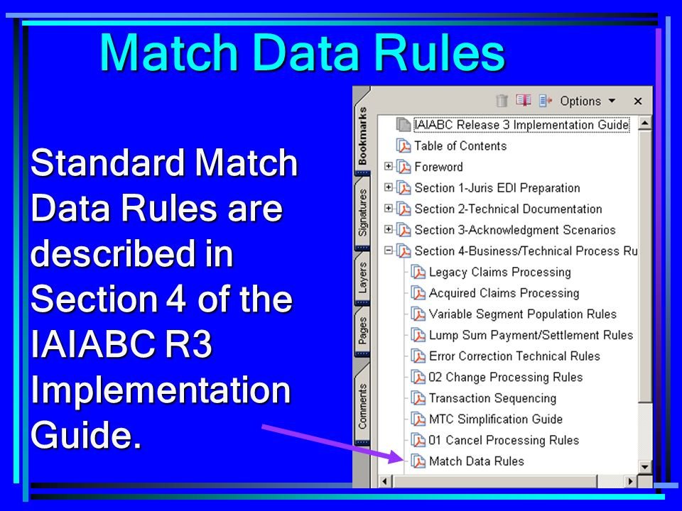 97 Match Data Rules Standard Match Data Rules are described in Section 4 of the IAIABC R3 Implementation Guide.