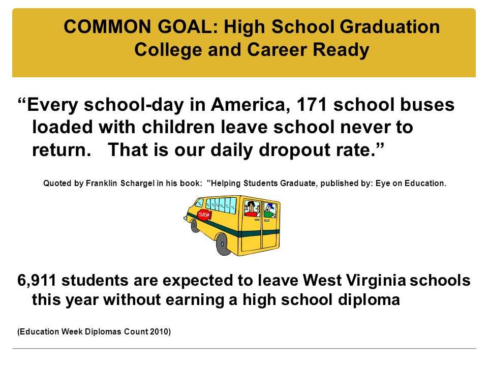 COMMON GOAL: High School Graduation College and Career Ready Every school-day in America, 171 school buses loaded with children leave school never to return.