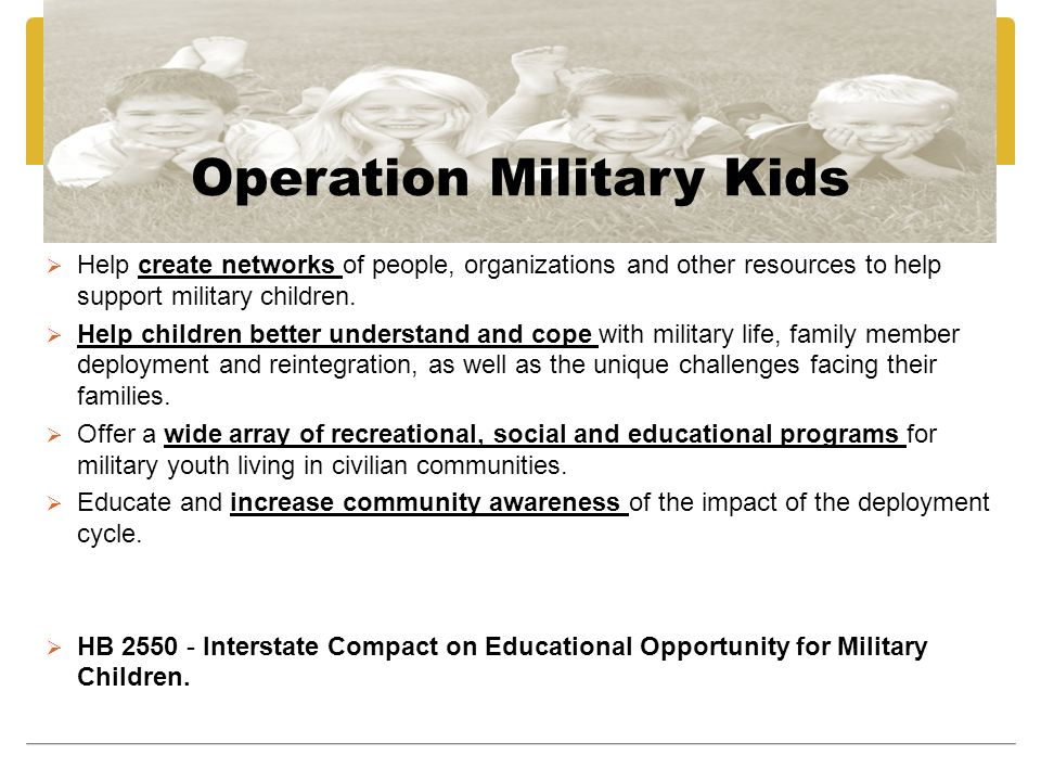 Operation Military Kids Help create networks of people, organizations and other resources to help support military children.