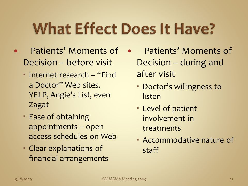 Patients Moments of Decision – before visit Internet research – Find a Doctor Web sites, YELP, Angies List, even Zagat Ease of obtaining appointments – open access schedules on Web Clear explanations of financial arrangements Patients Moments of Decision – during and after visit Doctors willingness to listen Level of patient involvement in treatments Accommodative nature of staff 9/18/2009WV-MGMA Meeting 200921