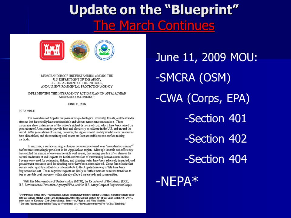 Update on the Blueprint The March Continues June 11, 2009 MOU: -SMCRA (OSM) -CWA (Corps, EPA) -Section 401 -Section 402 -Section 404 -NEPA*