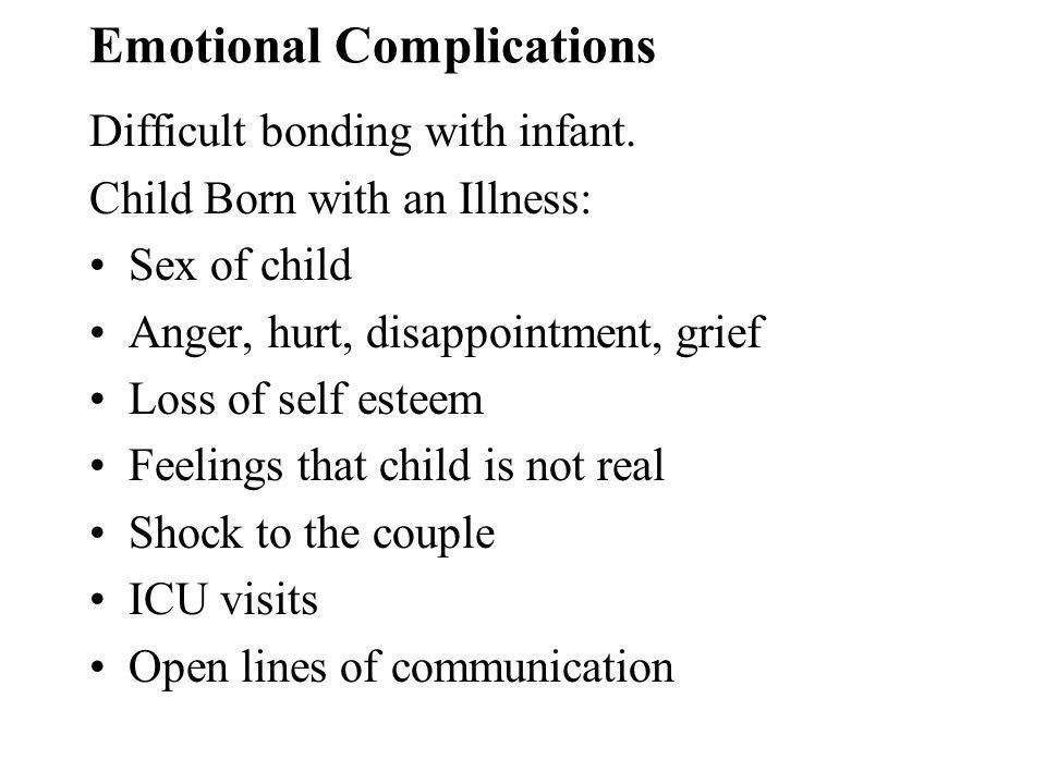 Emotional Complications Difficult bonding with infant.