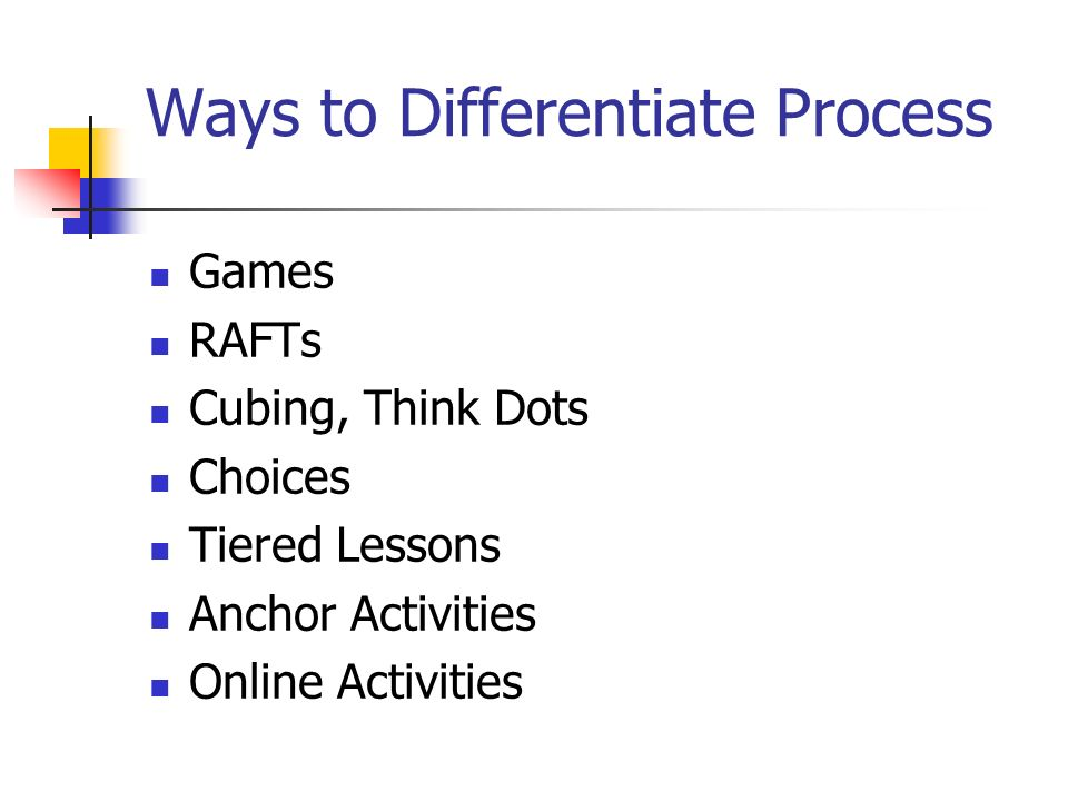 Ways to Differentiate Process Games RAFTs Cubing, Think Dots Choices Tiered Lessons Anchor Activities Online Activities