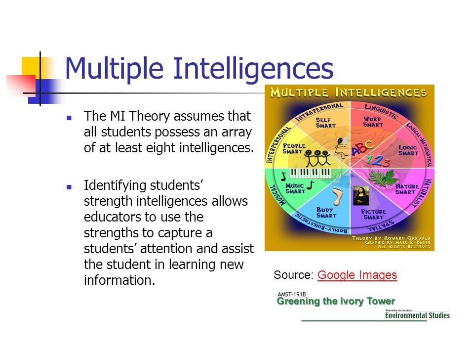 Multiple Intelligences The MI Theory assumes that all students possess an array of at least eight intelligences. Identifying students strength intelli