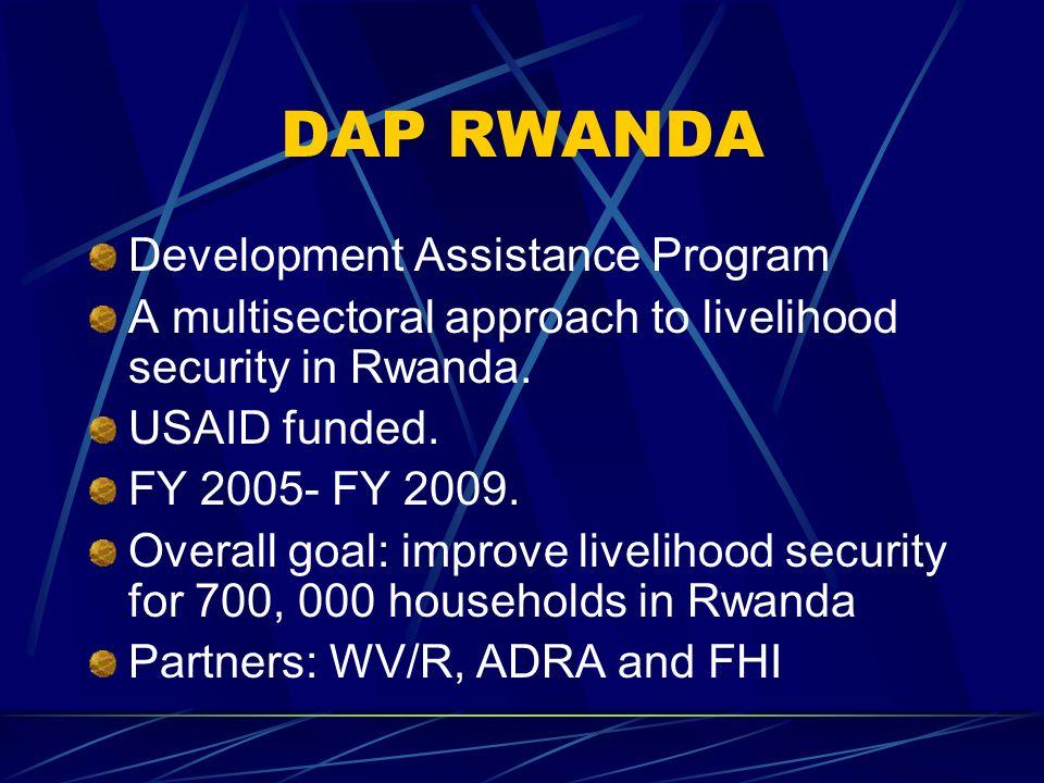 DAP RWANDA Development Assistance Program A multisectoral approach to livelihood security in Rwanda.