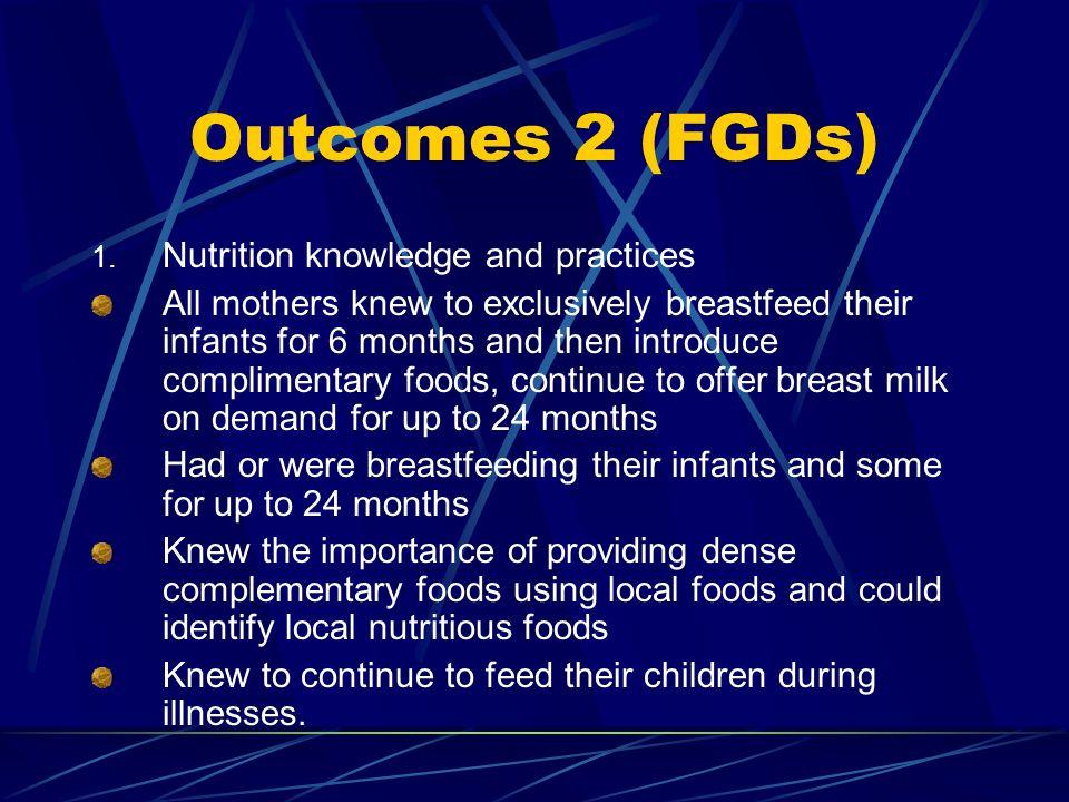 Outcomes 2 (FGDs) 1.