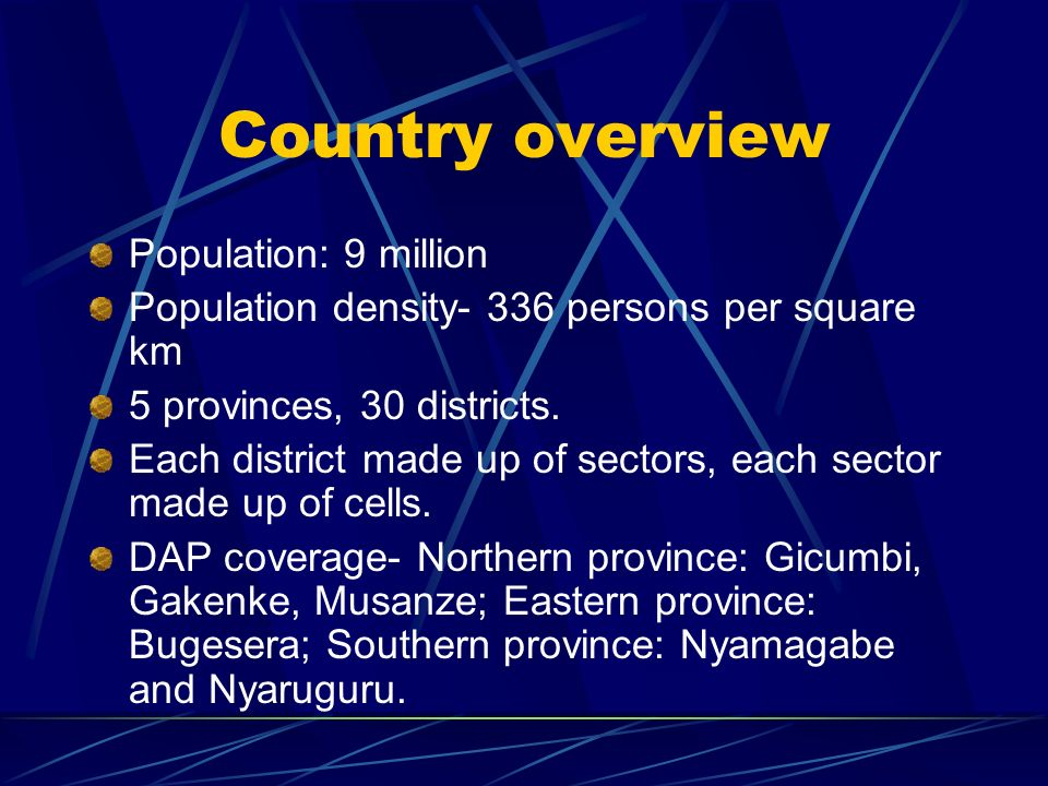 Country overview Population: 9 million Population density- 336 persons per square km 5 provinces, 30 districts.