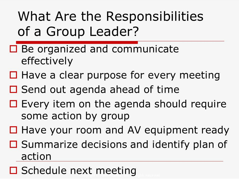 Copyright © 2006 Elsevier, Inc. All rights reserved What Are the Responsibilities of a Group Leader? Be organized and communicate effectively Have a c