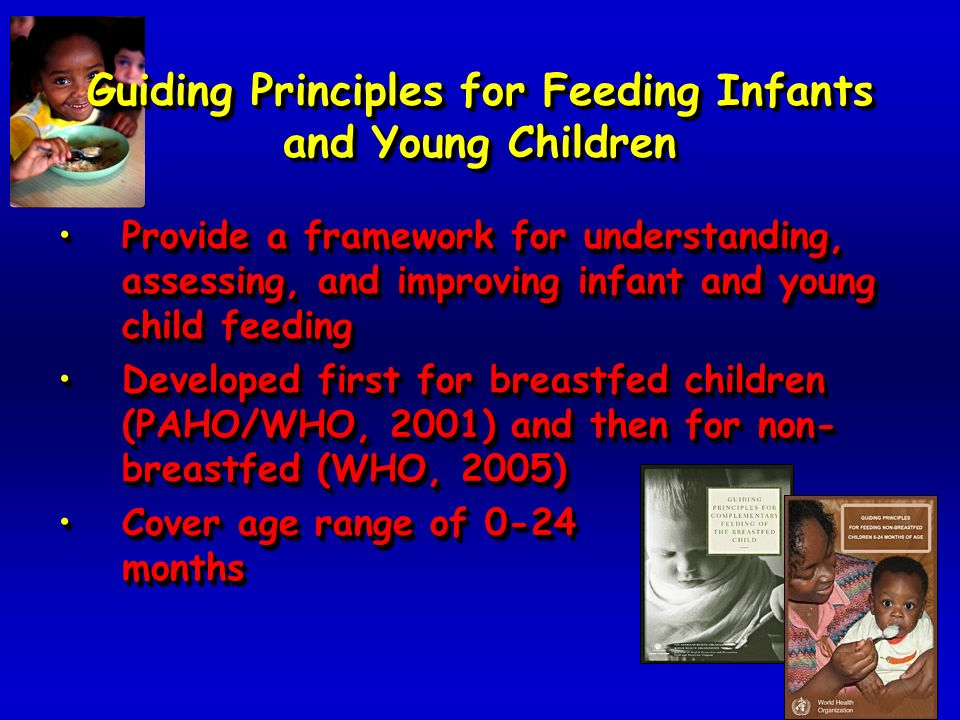 Guiding Principles for Feeding Infants and Young Children Provide a framework for understanding, assessing, and improving infant and young child feedingProvide a framework for understanding, assessing, and improving infant and young child feeding Developed first for breastfed children (PAHO/WHO, 2001) and then for non- breastfed (WHO, 2005)Developed first for breastfed children (PAHO/WHO, 2001) and then for non- breastfed (WHO, 2005) Cover age range of 0-24 monthsCover age range of 0-24 months Provide a framework for understanding, assessing, and improving infant and young child feedingProvide a framework for understanding, assessing, and improving infant and young child feeding Developed first for breastfed children (PAHO/WHO, 2001) and then for non- breastfed (WHO, 2005)Developed first for breastfed children (PAHO/WHO, 2001) and then for non- breastfed (WHO, 2005) Cover age range of 0-24 monthsCover age range of 0-24 months