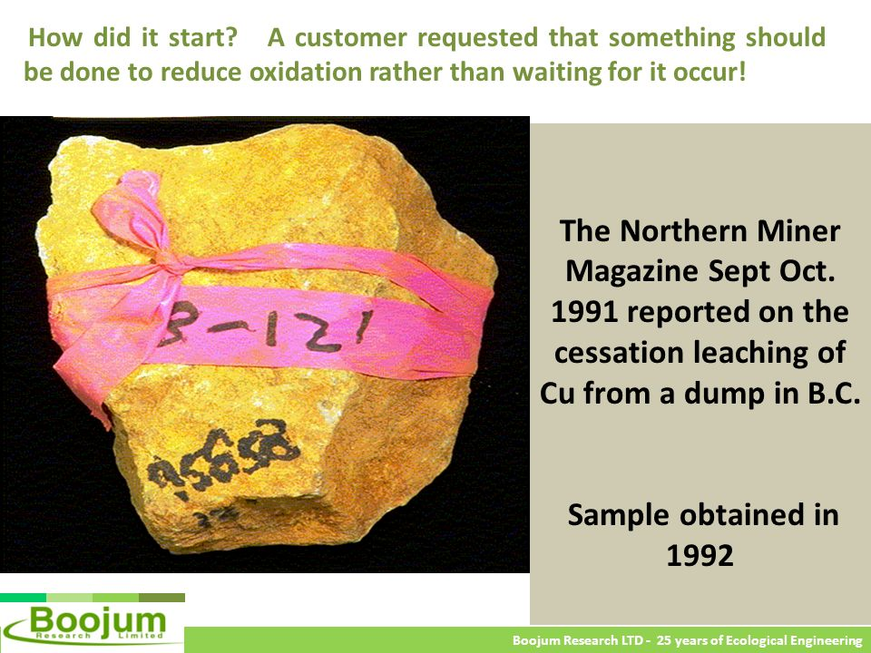 The Northern Miner Magazine Sept Oct. 1991 reported on the cessation leaching of Cu from a dump in B.C. Sample obtained in 1992 Boojum Research LTD -