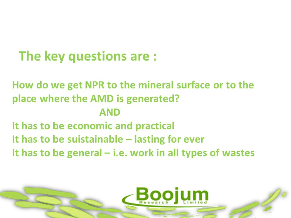The key questions are : How do we get NPR to the mineral surface or to the place where the AMD is generated? AND It has to be economic and practical I