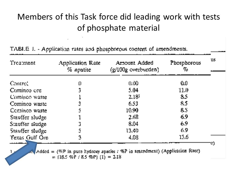 Members of this Task force did leading work with tests of phosphate material