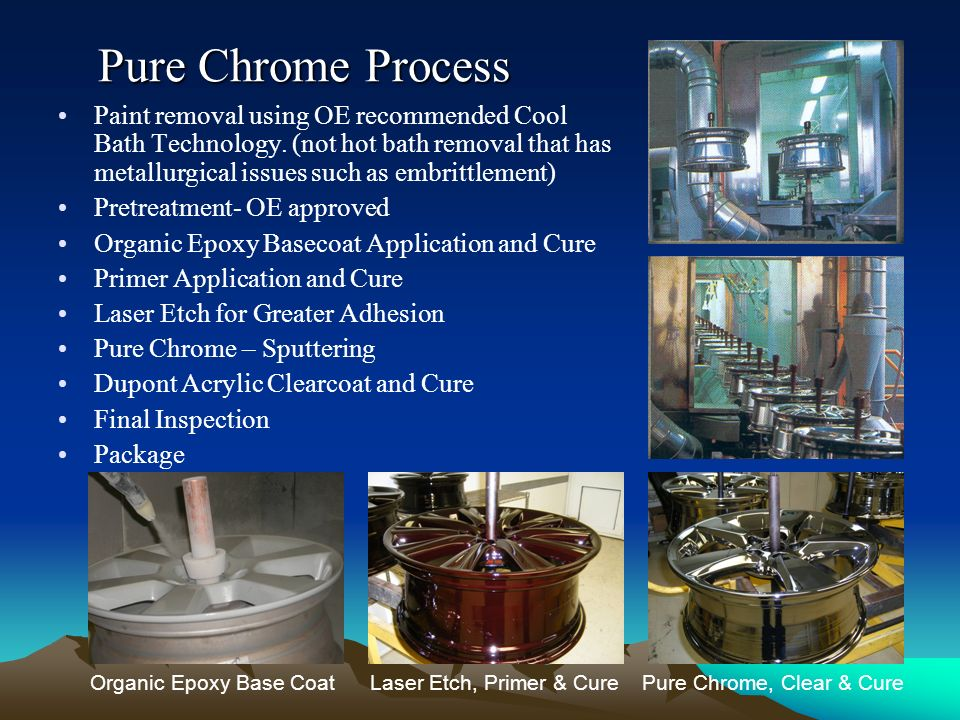 Pure Chrome Process Paint removal using OE recommended Cool Bath Technology.