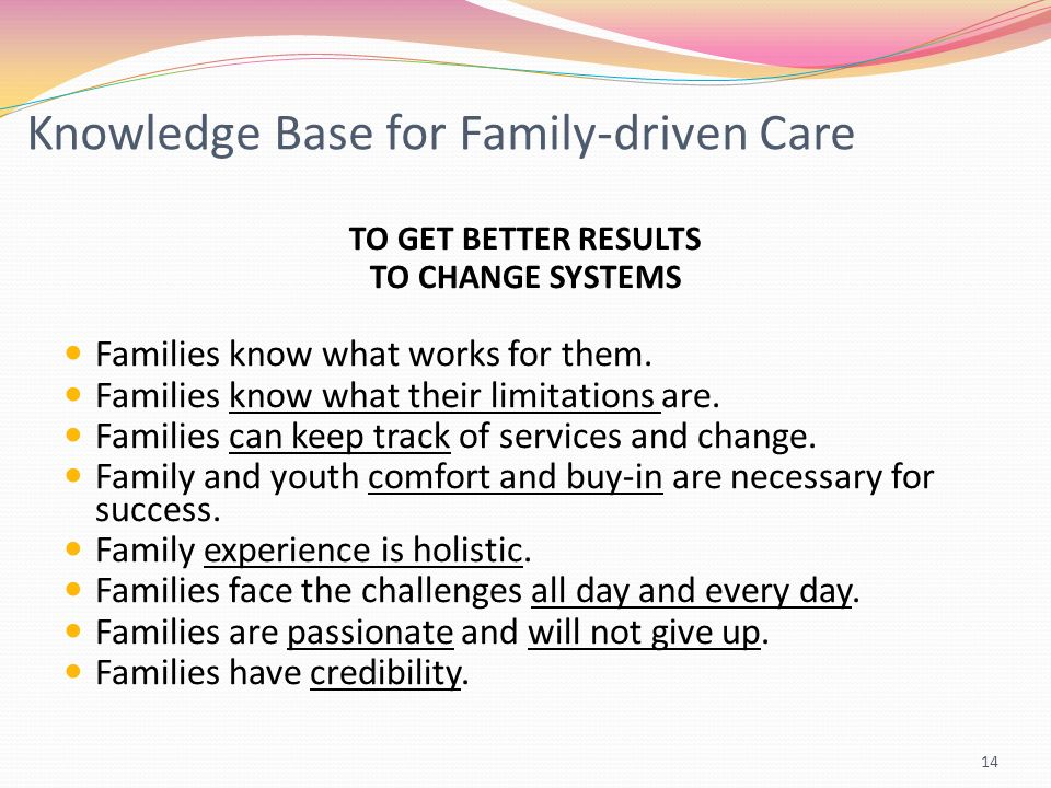 Knowledge Base for Family-driven Care TO GET BETTER RESULTS TO CHANGE SYSTEMS Families know what works for them.