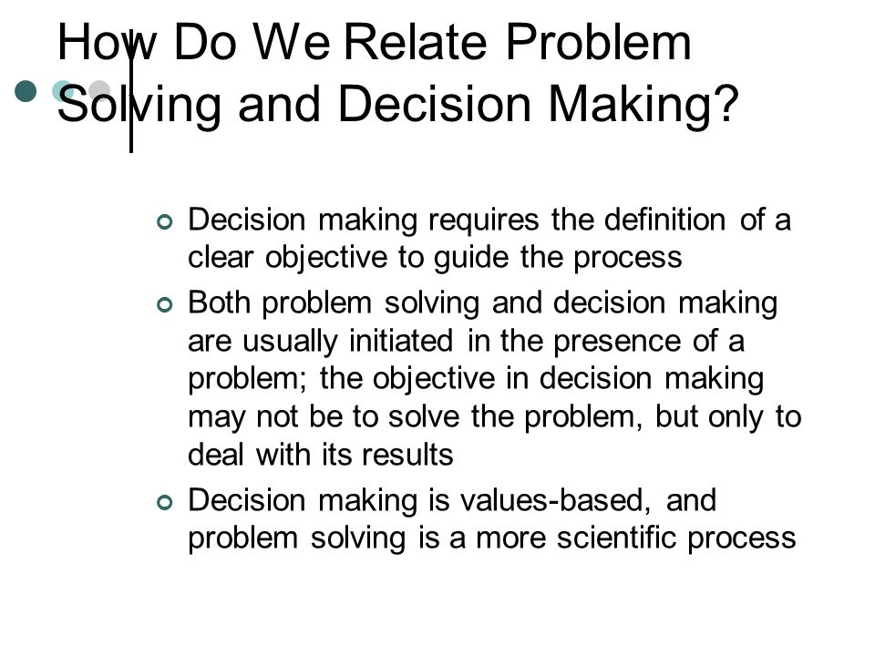 Copyright © 2006 Elsevier, Inc. All rights reserved How Do We Relate Problem Solving and Decision Making? Decision making requires the definition of a
