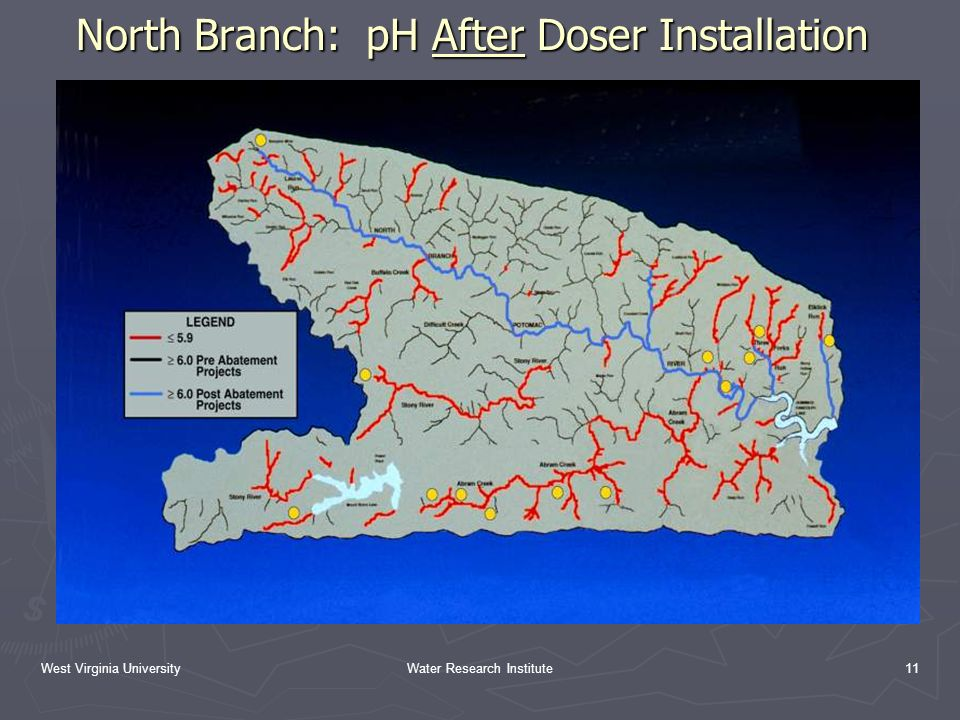 West Virginia UniversityWater Research Institute11 North Branch: pH After Doser Installation