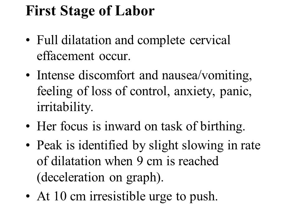 First Stage of Labor Full dilatation and complete cervical effacement occur. Intense discomfort and nausea/vomiting, feeling of loss of control, anxie