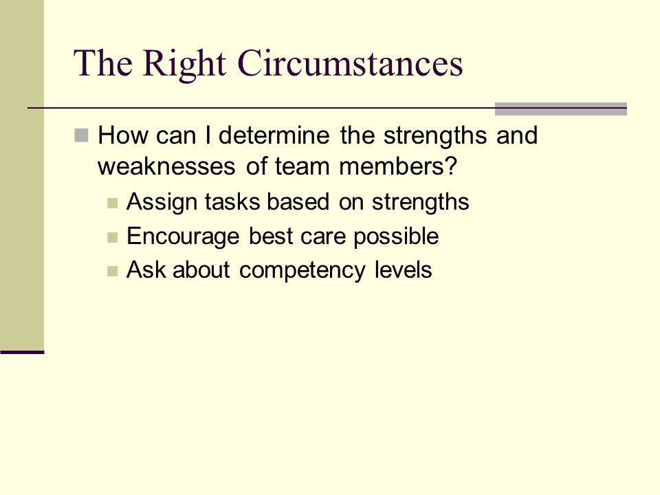 Copyright © 2006 Elsevier, Inc. All rights reserved The Right Circumstances How can I determine the strengths and weaknesses of team members? Assign t
