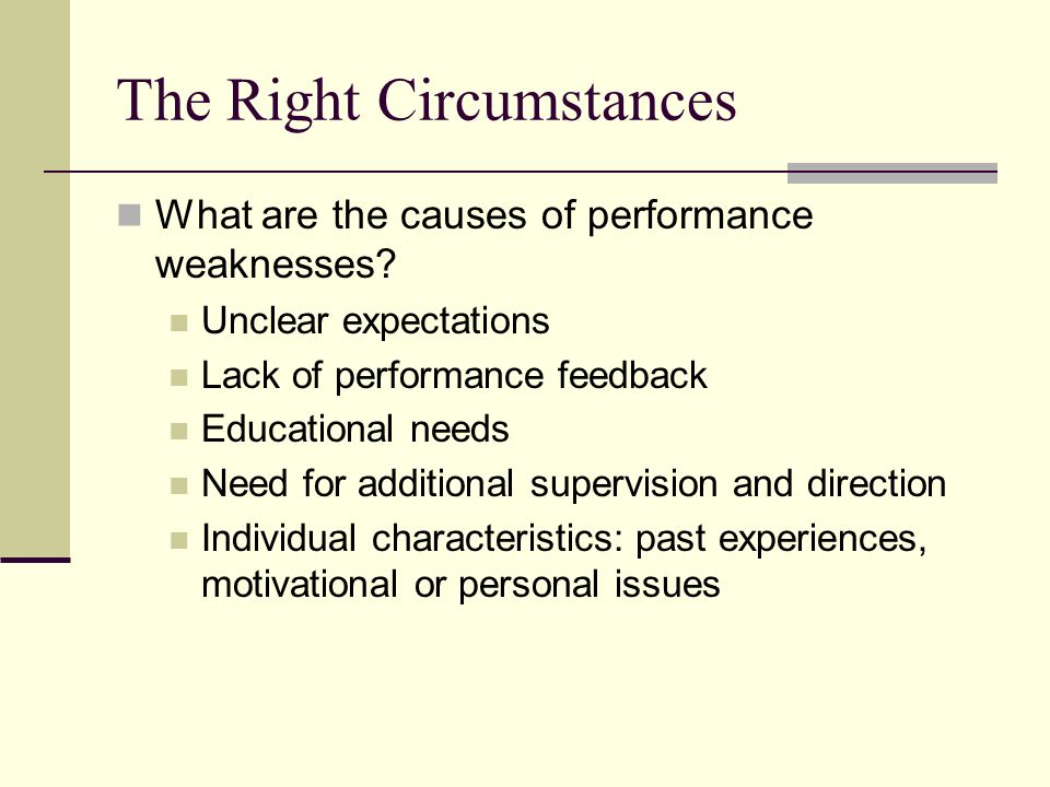 Copyright © 2006 Elsevier, Inc. All rights reserved The Right Circumstances What are the causes of performance weaknesses? Unclear expectations Lack o