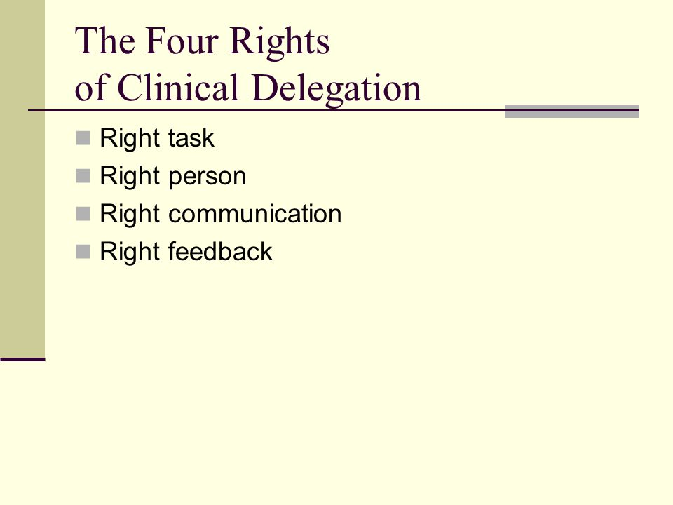 The Four Rights of Clinical Delegation Right task Right person Right communication Right feedback
