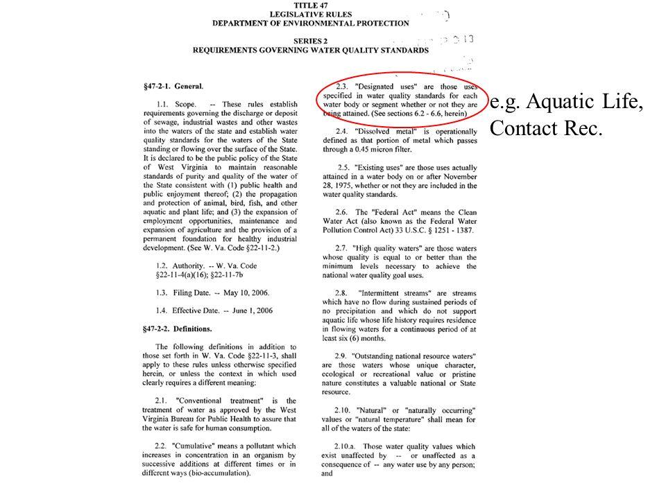 e.g. Aquatic Life, Contact Rec.
