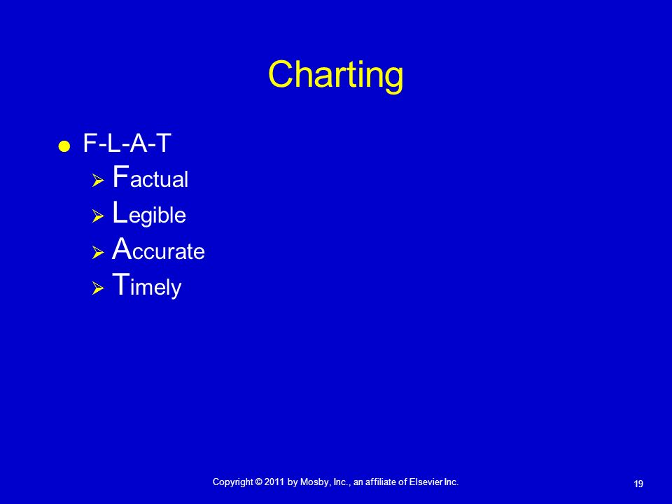 19 Copyright © 2011 by Mosby, Inc., an affiliate of Elsevier Inc. Charting F-L-A-T F actual L egible A ccurate T imely