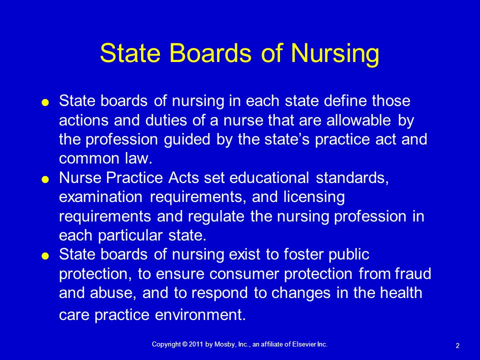 2 Copyright © 2011 by Mosby, Inc., an affiliate of Elsevier Inc. State Boards of Nursing State boards of nursing in each state define those actions an