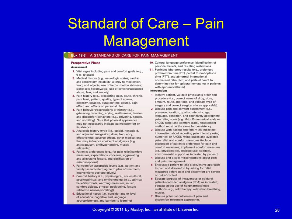 20 Copyright © 2011 by Mosby, Inc., an affiliate of Elsevier Inc. Standard of Care – Pain Management