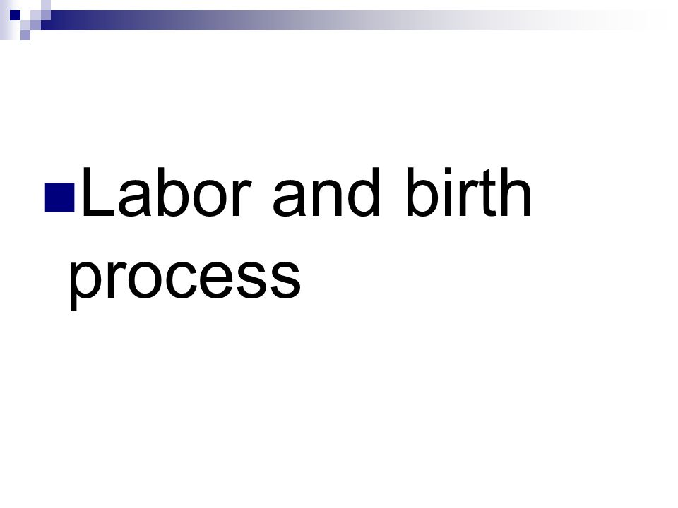 Labor Process Exact mechanism unknown Theories: Uterine stretching Prostaglandin Oxytocin stimulation Cervical pressure Aging placenta Increased fetal cortisol levels