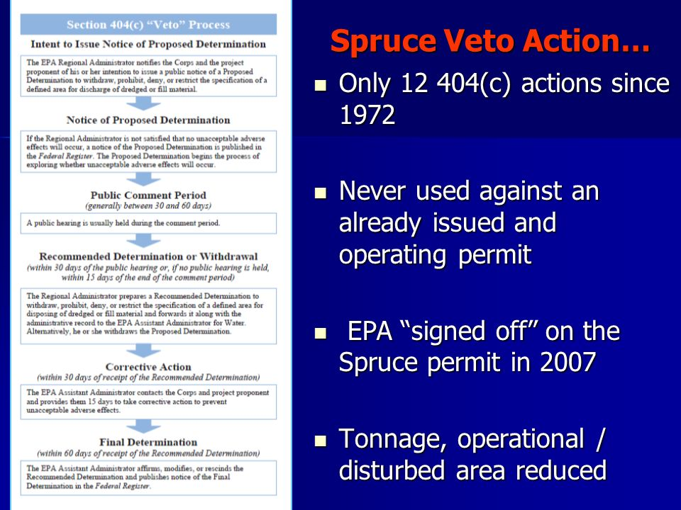 Spruce Veto Action… Only 12 404(c) actions since 1972 Only 12 404(c) actions since 1972 Never used against an already issued and operating permit Neve