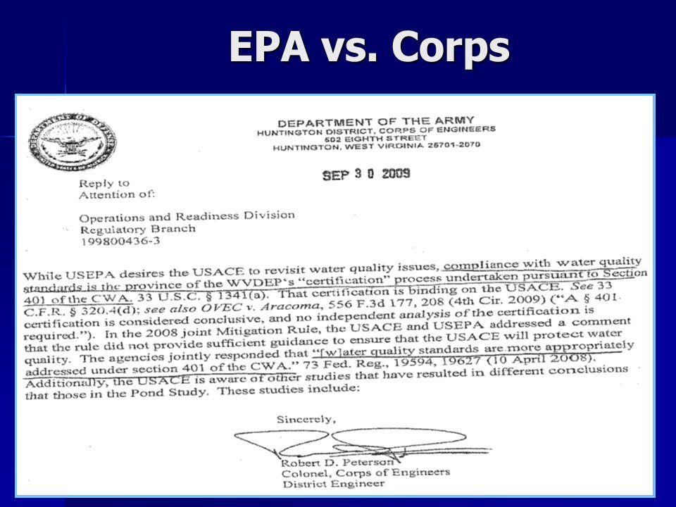 EPA vs. Corps