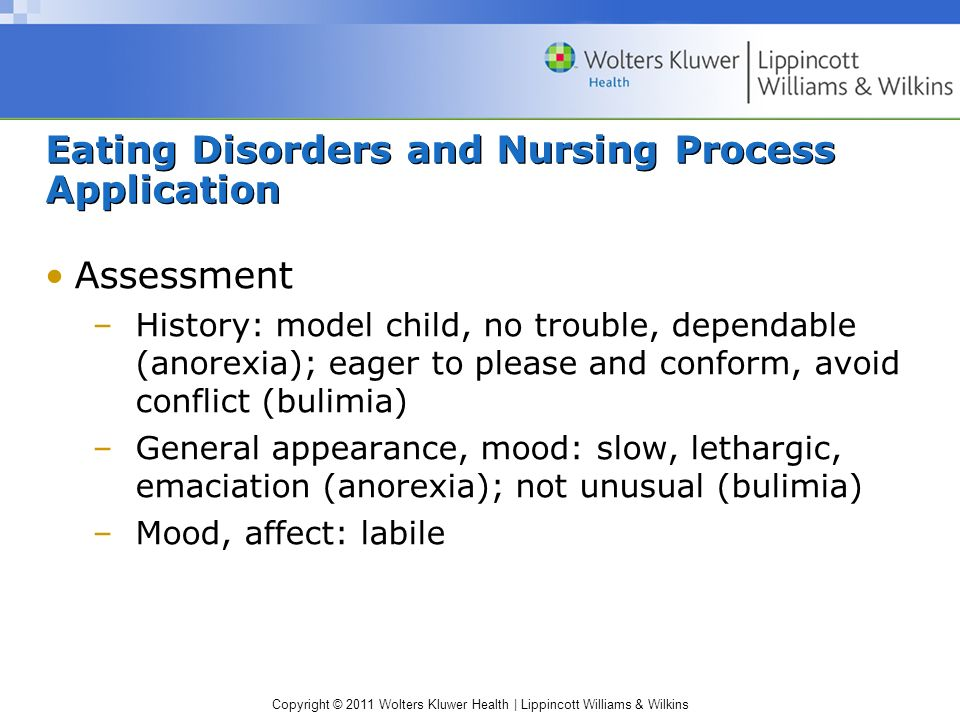 Copyright © 2011 Wolters Kluwer Health | Lippincott Williams & Wilkins Eating Disorders and Nursing Process Application Assessment –History: model chi