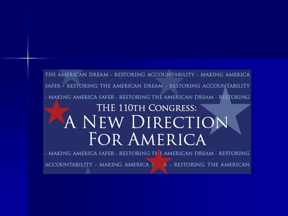 A NEW DIRECTION To Make America Safer To Restore the American Dream To Restore Accountability