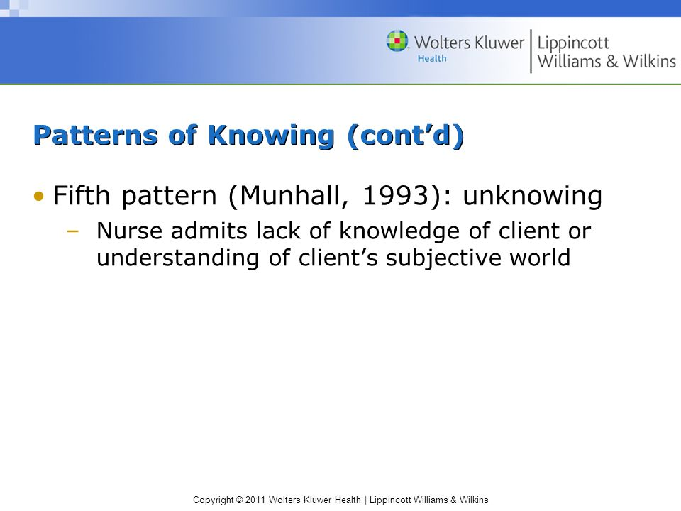 Copyright © 2011 Wolters Kluwer Health | Lippincott Williams & Wilkins Patterns of Knowing (contd) Fifth pattern (Munhall, 1993): unknowing –Nurse adm