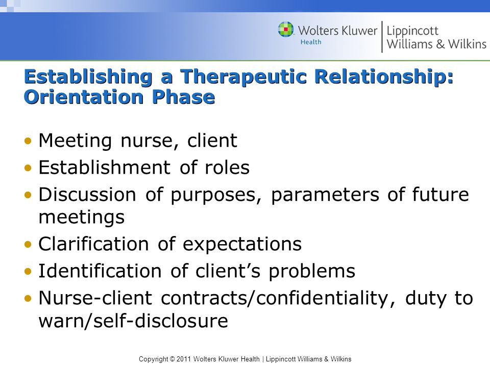 Copyright © 2011 Wolters Kluwer Health | Lippincott Williams & Wilkins Establishing a Therapeutic Relationship: Orientation Phase Meeting nurse, clien