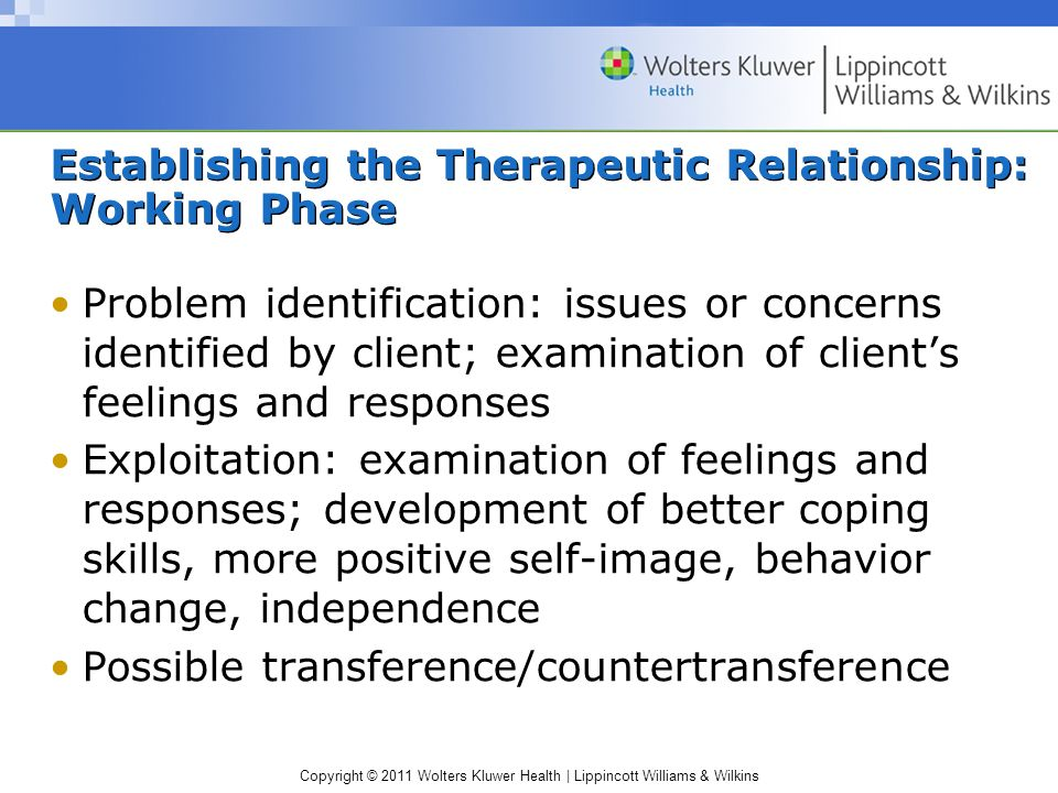 Copyright © 2011 Wolters Kluwer Health | Lippincott Williams & Wilkins Establishing the Therapeutic Relationship: Working Phase Problem identification