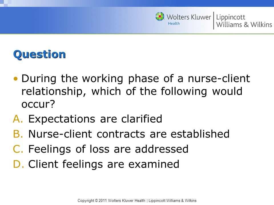 Copyright © 2011 Wolters Kluwer Health | Lippincott Williams & Wilkins Question During the working phase of a nurse-client relationship, which of the