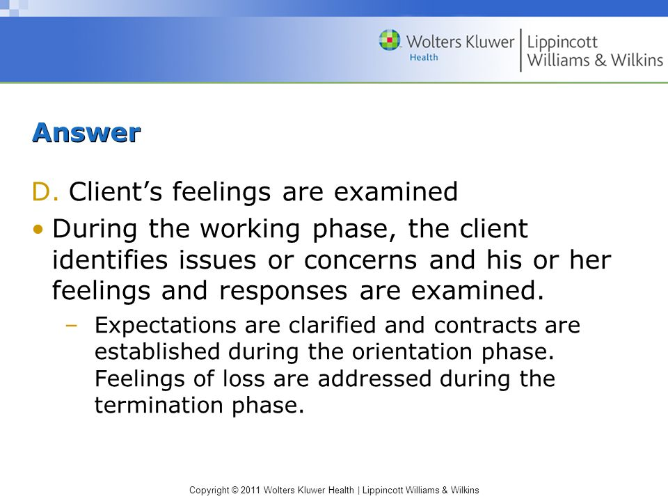 Copyright © 2011 Wolters Kluwer Health | Lippincott Williams & Wilkins Answer D.Clients feelings are examined During the working phase, the client ide