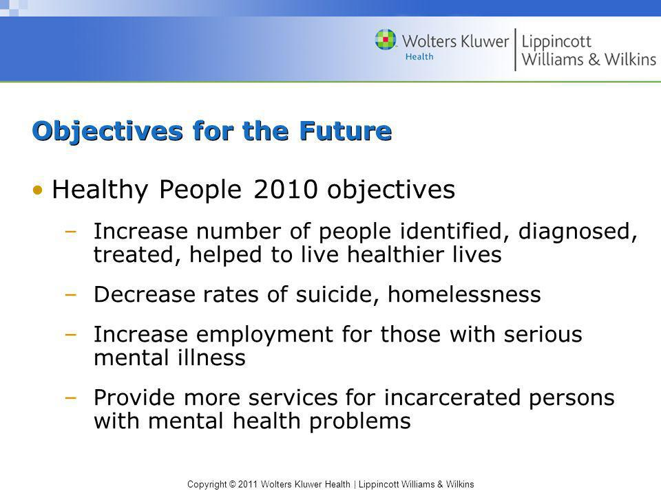 Copyright © 2011 Wolters Kluwer Health | Lippincott Williams & Wilkins Objectives for the Future Healthy People 2010 objectives –Increase number of pe
