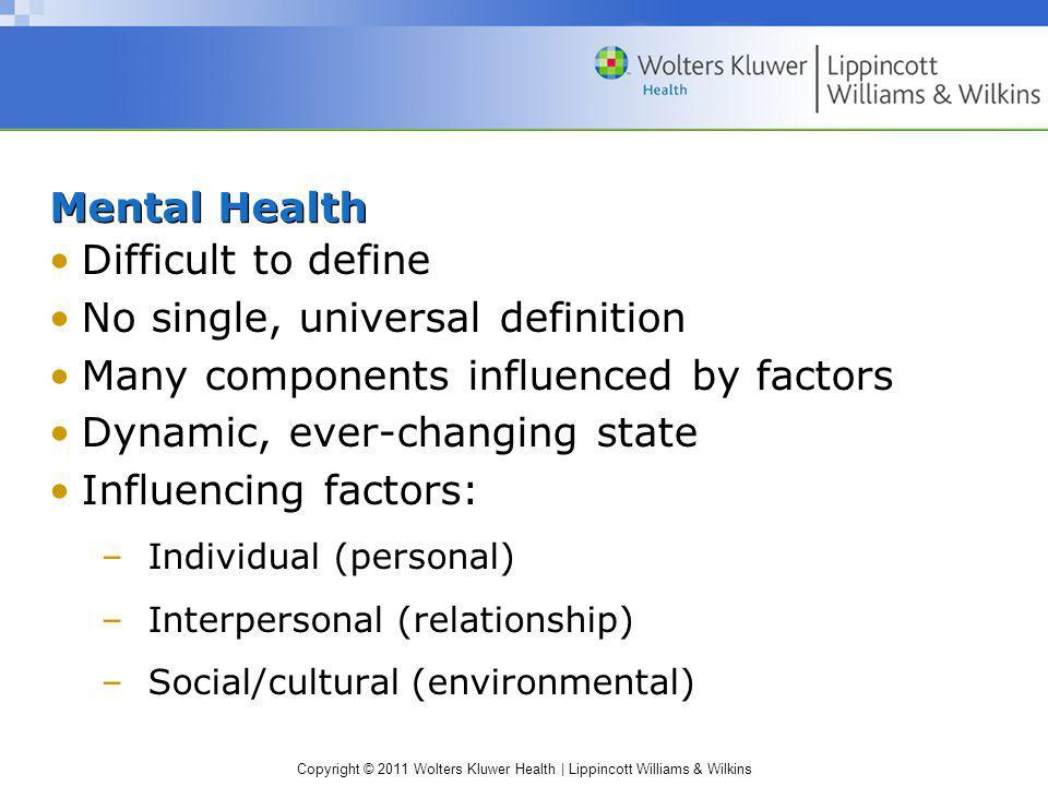 Copyright © 2011 Wolters Kluwer Health | Lippincott Williams & Wilkins Mental Health Difficult to define No single, universal definition Many componen