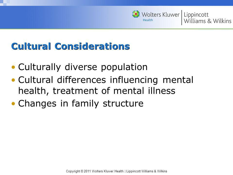 Copyright © 2011 Wolters Kluwer Health | Lippincott Williams & Wilkins Cultural Considerations Culturally diverse population Cultural differences infl