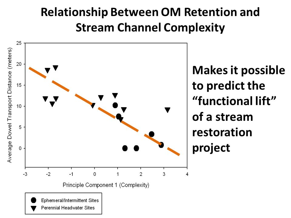 Relationship Between OM Retention and Stream Channel Complexity Makes it possible to predict the functional lift of a stream restoration project