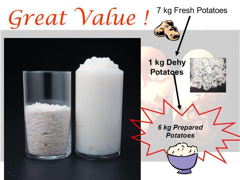 Great Value ! 7 kg Fresh Potatoes 1 kg Dehy Potatoes 6 kg Prepared Potatoes