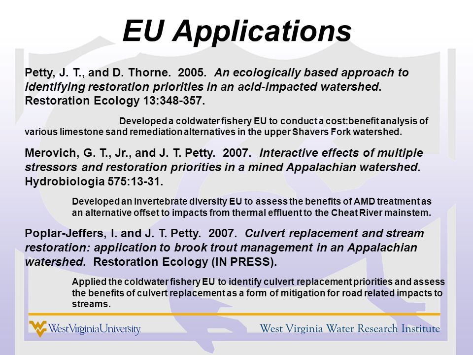 EU Applications Petty, J. T., and D. Thorne. 2005.