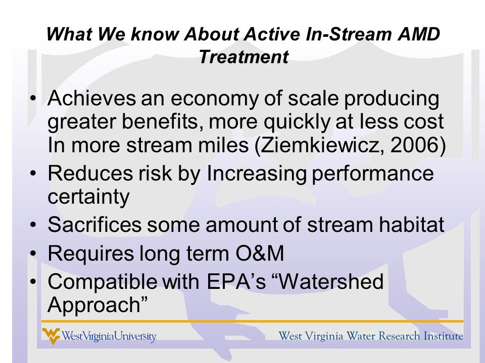 What We know About Active In-Stream AMD Treatment Achieves an economy of scale producing greater benefits, more quickly at less cost In more stream miles (Ziemkiewicz, 2006) Reduces risk by Increasing performance certainty Sacrifices some amount of stream habitat Requires long term O&M Compatible with EPAs Watershed Approach