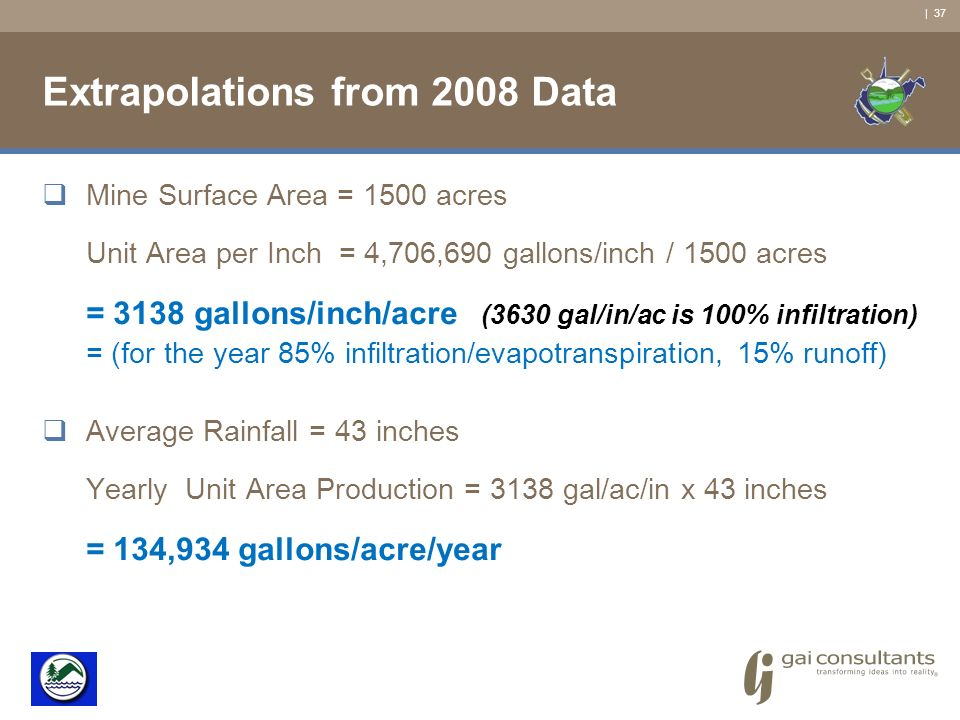 | 37 Extrapolations from 2008 Data Mine Surface Area = 1500 acres Unit Area per Inch = 4,706,690 gallons/inch / 1500 acres = 3138 gallons/inch/acre (3630 gal/in/ac is 100% infiltration) = (for the year 85% infiltration/evapotranspiration, 15% runoff) Average Rainfall = 43 inches Yearly Unit Area Production = 3138 gal/ac/in x 43 inches = 134,934 gallons/acre/year
