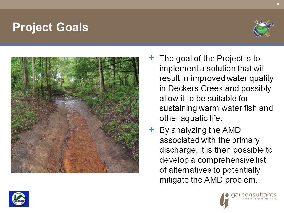 | 8 Project Goals + The goal of the Project is to implement a solution that will result in improved water quality in Deckers Creek and possibly allow it to be suitable for sustaining warm water fish and other aquatic life.